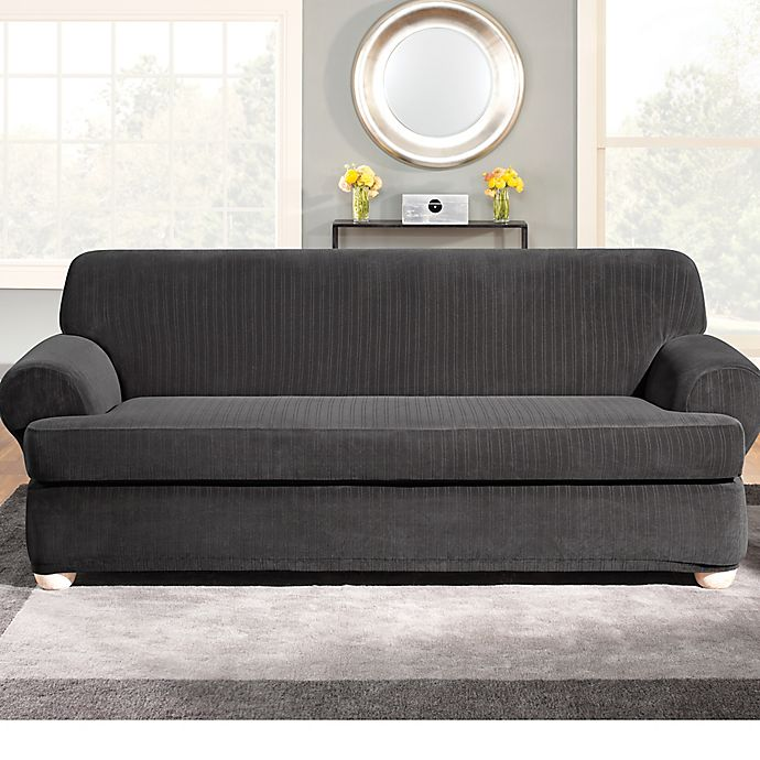 Sure Fit® Stretch Pinstripe 2-Piece T-Cushion Sofa Slipcover ...