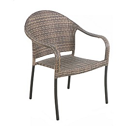 Barrington Wicker Stackable Patio Chairs in Natural Brown (Set of 2)