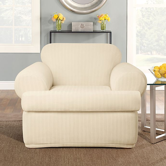 2 Piece T Cushion Chair Slipcover, Sure Fit Slipcovers Chair