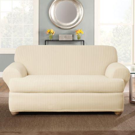 Sure Fit 174 Stretch Pinstripe 2 Piece T Cushion Loveseat