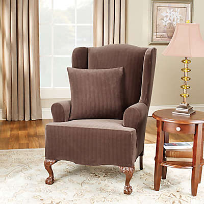 Sure Fit® Stretch Pinstripe Wingback Chair Slipcover