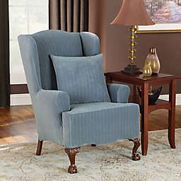 Sure Fit® Stretch Pinstripe Wingback Chair Slipcover in French Blue