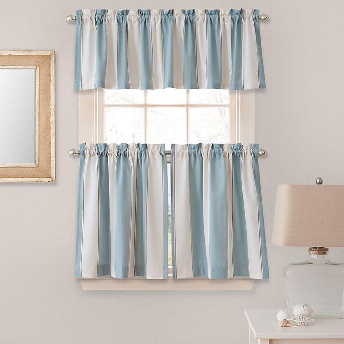 Alternate image 1 for Lauren Stripe 24-Inch Window Curtain Tier Pair in Blue