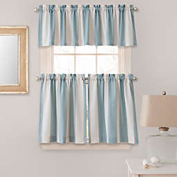 Lauren Stripe Window Curtain Tier Pairs And Valances In Blue