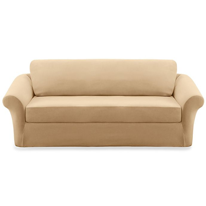 Sure Fit Stretch Pique 3 Piece Sofa Slipcover Bed Bath And Beyond