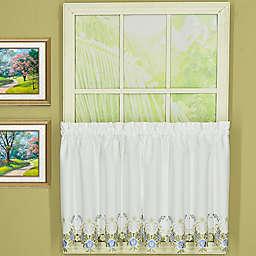 Today's Curtain Verona Kitchen Window Curtain Tier Pair in White/Blue