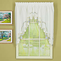 Today's Curtain Verona Scalloped Swag Pair in White/Blue