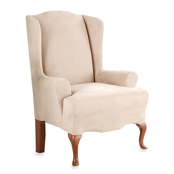 Alternate image 1 for Sure Fit® Stretch Suede Wingback Chair Slipcover