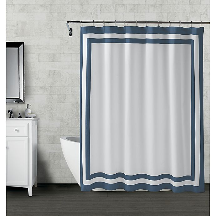 Alternate image 1 for Wamsutta® Hotel Border 72-Inch Square Shower Curtain in Navy