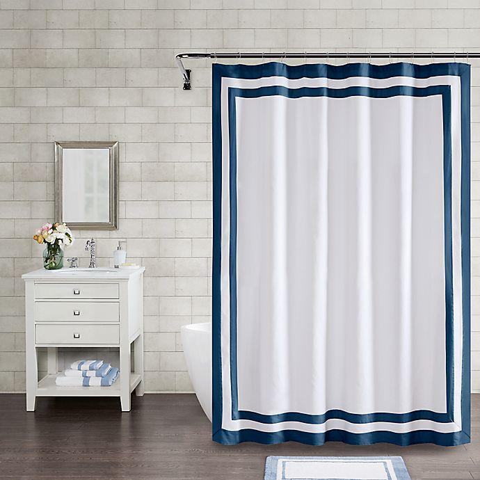 Alternate image 1 for Wamsutta® Hotel Border 72-Inch x 84-Inch Shower Curtain in Navy