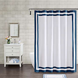 Wamsutta® Hotel Border 72-Inch x 84-Inch Shower Curtain in Navy