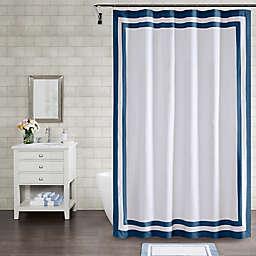 Wamsutta® Hotel Border 72-Inch x 96-Inch Shower Curtain in Navy