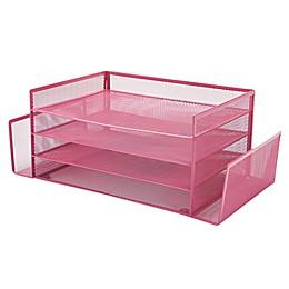 Mind Reader 4 Section 2 Side Desk Organizer with Storage in Pink