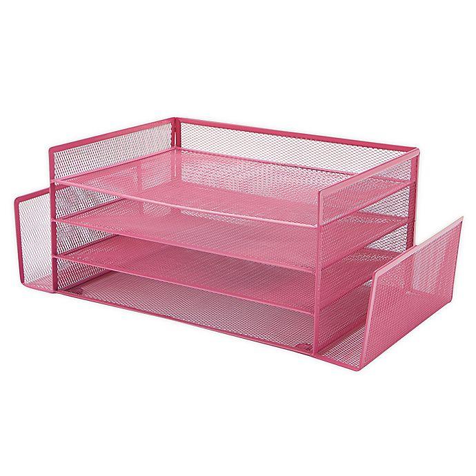 Alternate image 1 for Mind Reader 4 Section 2 Side Desk Organizer with Storage in Pink