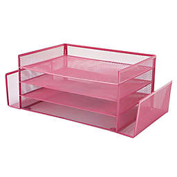 Mind Reader 4 Section 2 Side Desk Organizer with Storage in Pink