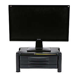 Mind Reader Monitor Stand with 3-Drawer Storage in Black