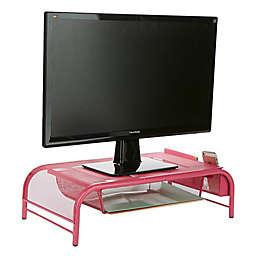 Mind Reader Monitor Stand Desk Organizer with Drawer in Pink
