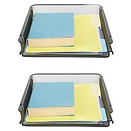 Mind Reader 2 Piece Stackable Letter Tray and Desk Organizer