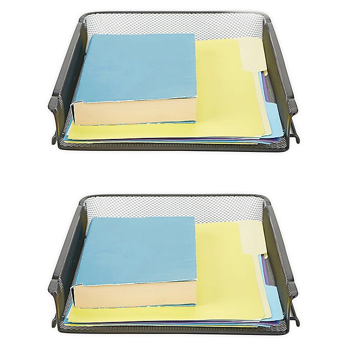 Alternate image 1 for Mind Reader 2 Piece Stackable Letter Tray and Desk Organizer