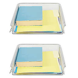 Mind Reader 2 Piece Stackable Letter Tray and Desk Organizer in Silver