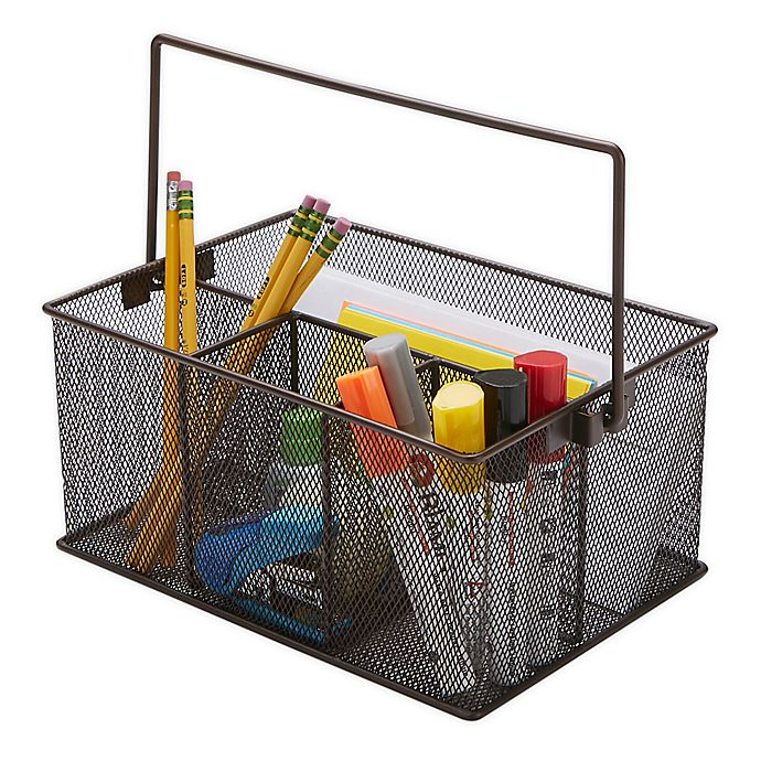 Alternate image 1 for Mind Reader Mesh Desk Organizer Basket/Utensil Caddy