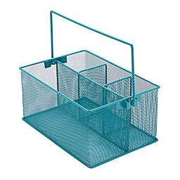 Mind Reader Mesh Desk Organizer Basket/Utensil Caddy in Turquoise