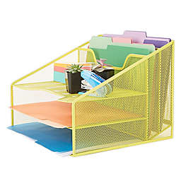 Mind Reader 5 Compartment Desktop Document and Letter Tray in Yellow