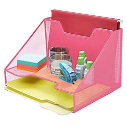 Mind Reader 3-Section Mesh Desk File Organizer in Pink