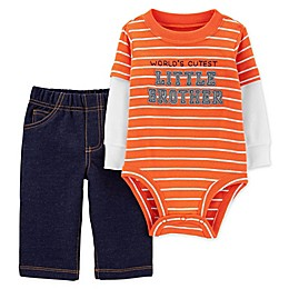 carter's® 2-Piece Little Brother Bodysuit and Pant Set in Orange