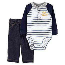 carter's® 2-Piece Henley Bodysuit and Pant Set in Blue