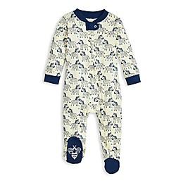 Burt's Bees Baby® Zany Zebras Organic Cotton Footie in Ocean