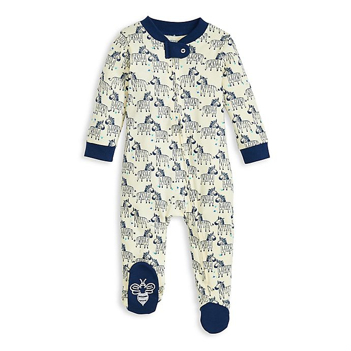 Alternate image 1 for Burt's Bees Baby® Zany Zebras Organic Cotton Footie in Ocean