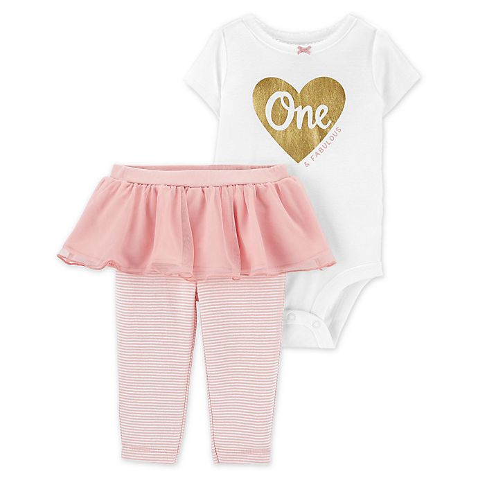 Alternate image 1 for carter's® 2-Piece 1st Birthday Bodysuit and Tutu Pant Set in Pink