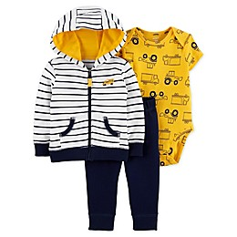 carter's® 3-Piece Construction Jacket, Bodysuit and Pant Set in Yellow/Navy