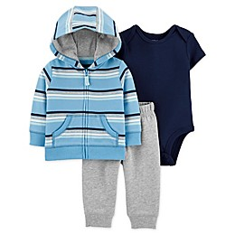carter's® 3-Piece Stripe Jacket, Bodysuit and Pant Set in Blue