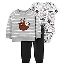 carter's® 3-Piece Sloth Sweatshirt, Bodysuit and Pant Set in Grey