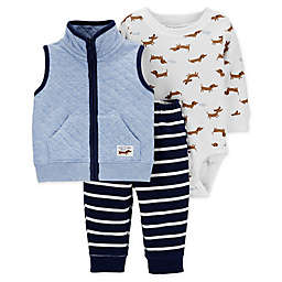 carter's® 3-Piece Dachshund Bodysuit, Quilted Vest, and Pant Set in Blue
