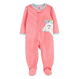 carter's® Size 18M Unicorn Footed Pajama in Coral