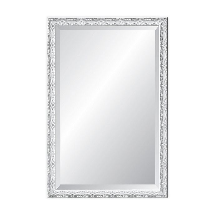 Reveal Frame Decor Ornate Gloss White 27 Inch X 33 Inch Beveled Rectangle Wall Mirror Bed Bath Beyond