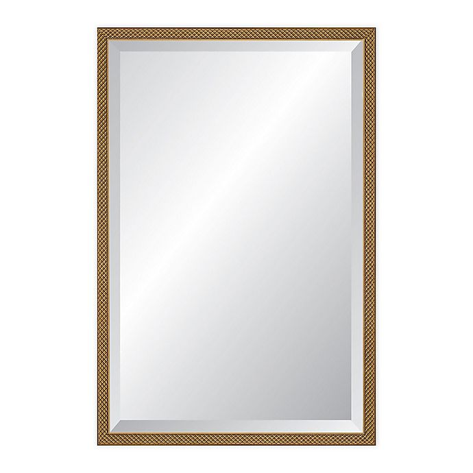 Alternate image 1 for Reveal Frame & Decor 22.75-Inch x 37.75-Inch Rectangular Venetian Gold Beveled Mirror