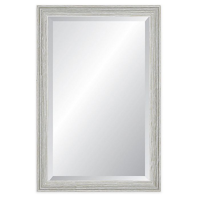 Alternate image 1 for Reveal Frame & Decor Weathered Whitewash Rectangle Beveled Wall Mirror