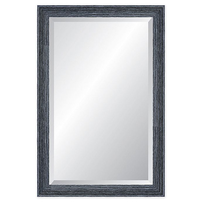 Alternate image 1 for Reveal Frame & Decor Peppercorn Black Rectangle Beveled Wall Mirror