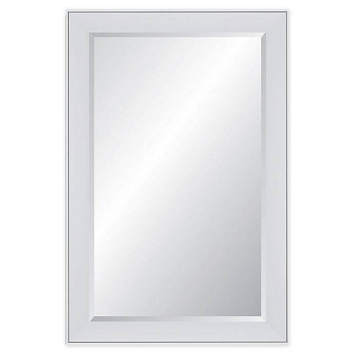 Alternate image 1 for Reveal Frame & Decor Polar White Rectangular Beveled Wall Mirror