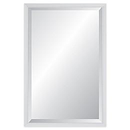 Reveal Frame & Decor Delicate Glacier Gloss White Rectangular Beveled Wall Mirror