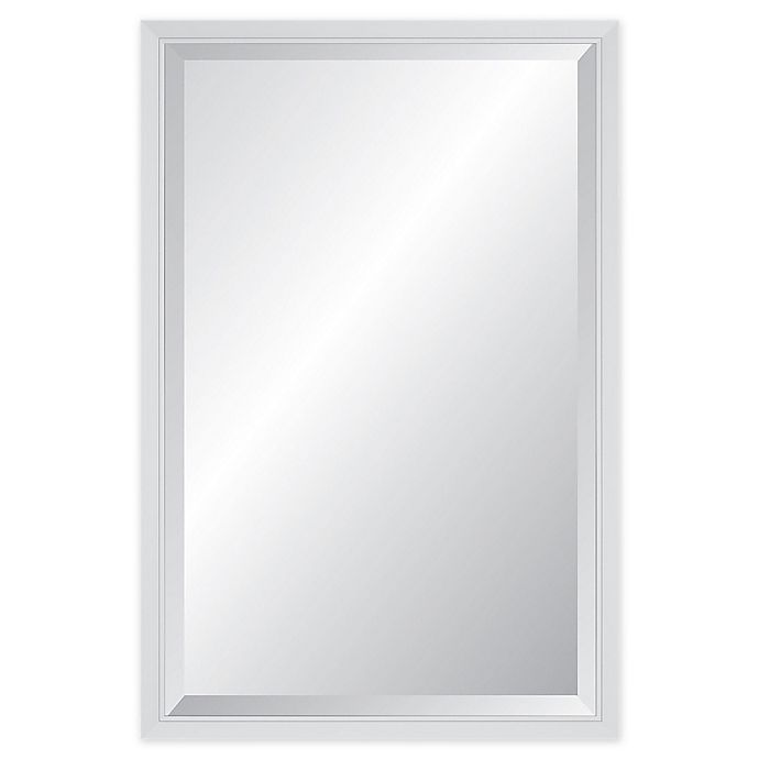 Alternate image 1 for Reveal Frame & Decor Delicate Glacier Gloss White Rectangular Beveled Wall Mirror