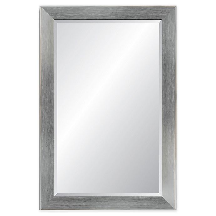Alternate image 1 for Reveal Frame & Decor Brushed Chrome Rectangular Beveled Wall Mirror