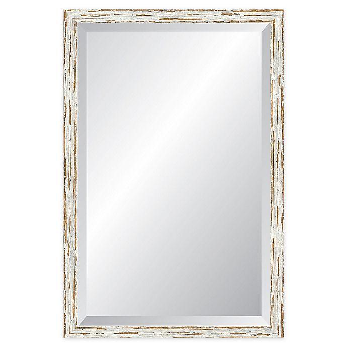 Alternate image 1 for Reveal Frame & Decor Deep Farmhouse Worn White Rectangular Beveled Wall Mirror