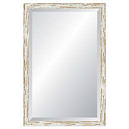 Reveal Frame & Decor Deep Farmhouse Worn White Rectangular Beveled Wall Mirror