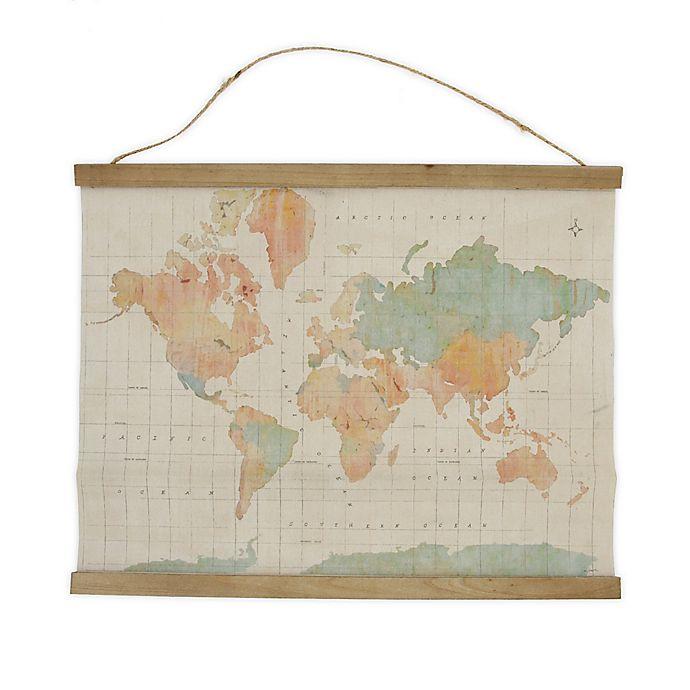 Alternate image 1 for Global Caravan™ 21.5-Inch x 17-Inch Hanging Map Banner in Bronze