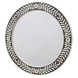 Carved 26-Inch Round Wall Mirror in Brown/White
